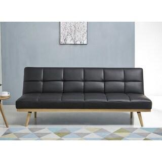 ABBYSON Kenzie Mid Century Black Leather Sofa Bed