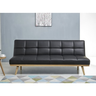 abbyson kenzie mid century black leather sofa bed