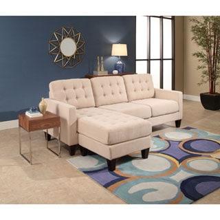 Abbyson Easton Khaki Fabric Reversible Sectional