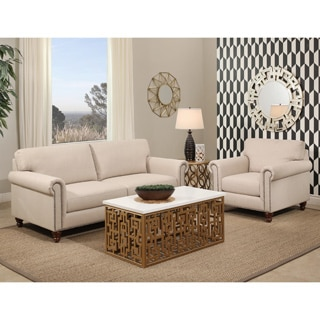 Abbyson Bella Ivory Fabric Sofa and Armchair