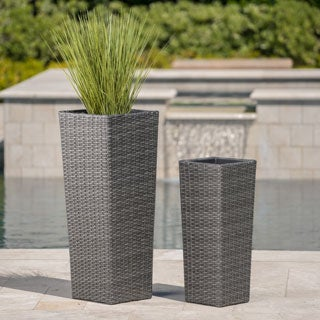 Everest Outdoor Wicker Flower Pot (Set of 2) by Christopher Knight Home