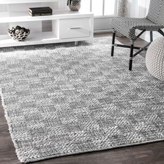 nuLOOM Casual Handmade Braided Cotton Checkered Ivory Rug (4' x 6')