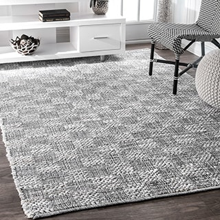 nuLOOM Casual Handmade Braided Cotton Checkered Ivory Rug (5' x 8')
