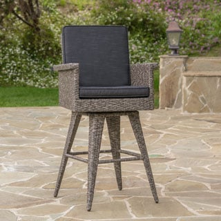 Puerta Outdoor Wicker Barstool with Cushions by Christopher Knight Home