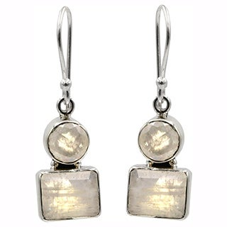 Sterling Silver Moonstone Geo Drop Earrings