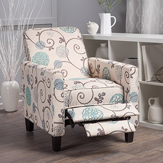 Darvis Floral Fabric Recliner Club Chair By Christopher Knight Home  (Option: White)