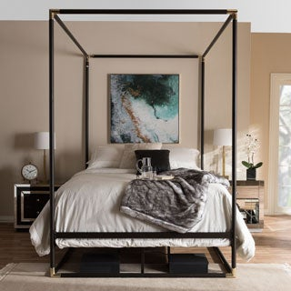 Industrial Black Canopy Bed by Baxton Studio