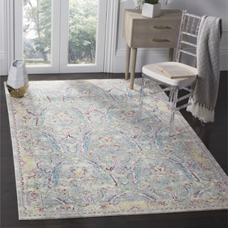 Safavieh Mystique Watercolor Grey Light Blue Silky Rug (6' 7 Square)