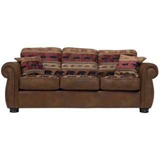 Porter Hunter Lodge Style Brown Sleeper Sofa with Deer, Bear and Fish Fabric