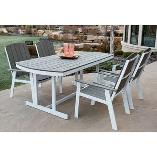 5 Piece Coastal Outdoor Dining Set   Grey/White