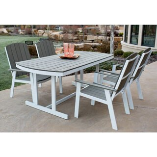 5-Piece Coastal Outdoor Patio Dining Set - Grey/White