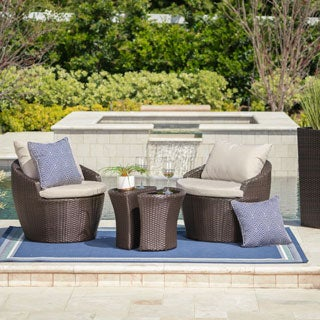 Costa Rica Outdoor 4-piece Wicker Bistro Chat Set with Cushions by Christopher Knight Home