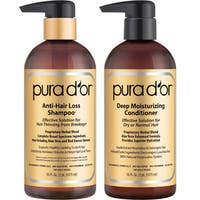 Pura d'or Gold Label Anti-Hair Loss 16-ounce Shampoo & Deep Moisturizing Conditioner Set
