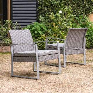 Alsace Outdoor Grey Wicker Chairs with Cushions by Corvus (Set of 2)