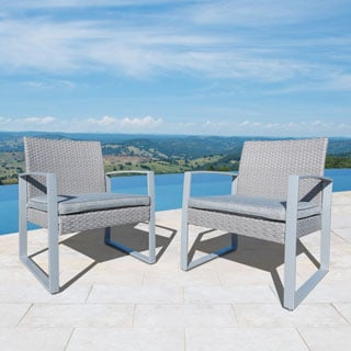 Corvus Alsace Outdoor Grey Wicker Chairs with Cushions (Set of 2)