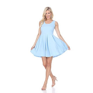 White Mark Women's 'Crystal' Baby Blue Spandex Blend Fit and Flare Dress