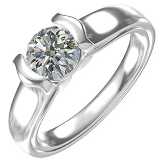 Sterling Silver 1ct Cubic Zirconia Semi-Bezel Solitaire Engagement Ring