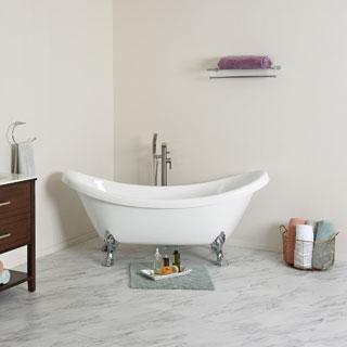 Maykke 71-inch Mona Double Slipper Clawfoot Bathtub