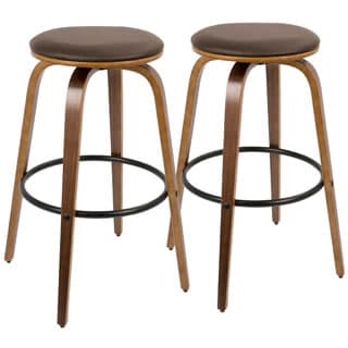 Porto Mid-Century Modern Wood and Faux Leather Swivel 30-inch Barstools (Set of 2)