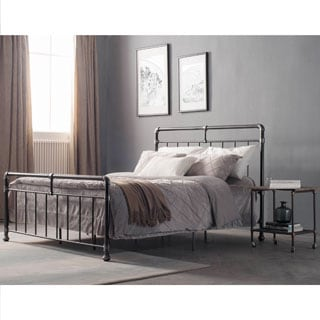 Belfort Vintage Charcoal Queen-sized Metal Bed by Corvus