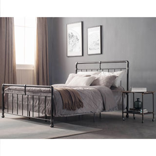 Carbon Loft Meitner Vintage Charcoal Queen Size Metal Bed