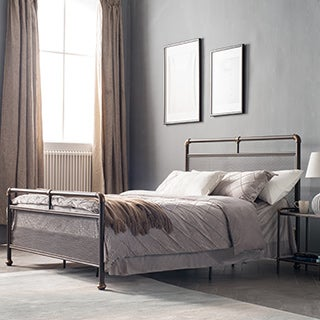 Corvus Lorraine Vintage Style Steel Bed with Mesh Accents in Bronze