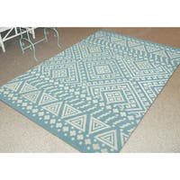 San Mateo Multi-purpose Indoor/Outdoor Aqua Rug (7'6 x 9'6) - 7'6 x 9'6