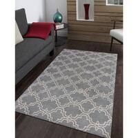 Dark Grey and Ivory Wool Hand-tufted Modern Area Rug (5' x 8') - 5' x 8'