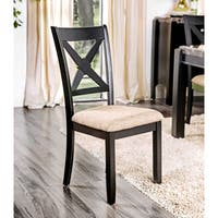 Furniture of America Dasni Transitional X-back Fabric Brushed Black Dining Chair (Set of 2)