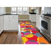 Modern Contemporary Circles Multicolored Nylon Nonslip Area Rug Runner - Multi - 2' x 7'