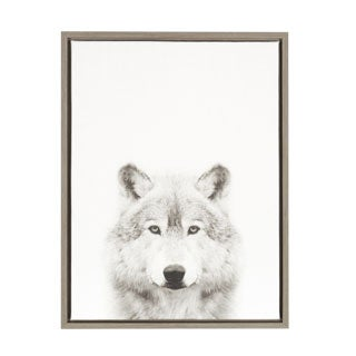 DesignOvation Simon Te Tai 'Sylvie Wolf' Black and White Portrait Grey Framed Canvas Wall Art