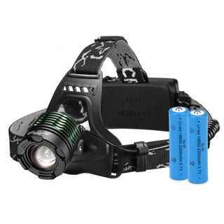 High Power Headlamp Rechargeable LED Lamp with 4 Light Modes, 2 Rechargeable Batteries included