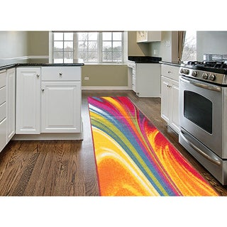 Multicolored Nylon Modern Waves Non-Skid Area Runner Rug (2' x 7')