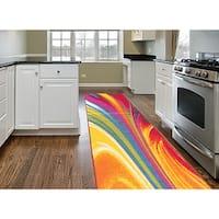 Multicolored Nylon Modern Waves Non-Skid Area Runner Rug - 2' x 7'