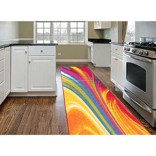 Multicolored Nylon Modern Waves Non-Skid Area Runner Rug - Multi - 2' x 7'