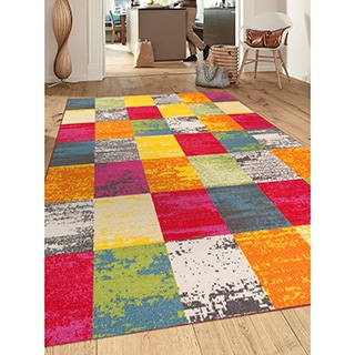 Multicolored Nylon Contemporary Modern Boxes Non-slip Non-skid Area Rug (7'10 x 10')