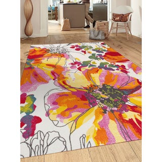 Modern Bright Flowers Multicolored Non-slip Non-skid Area Rug (7' 10 x 10')