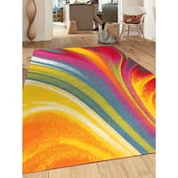 "Modern Contemporary Waves Multicolored Non-slip Non-skid Area Rug - 7'10"" x 10'"