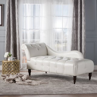 Antonya Faux Leather Tufted Chaise Lounge by Christopher Knight Home