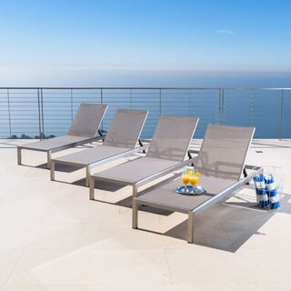 Cape Coral Outdoor Aluminum Adjustable Chaise Lounge (Set of 4) by Christopher Knight Home