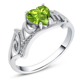 Orchid Jewelry Sterling Silver Peridot Heart Shaped Stone Mom Ring