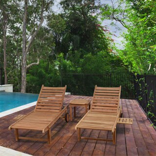 Amazonia Teak Hartford 3 Piece Patio Lounger Set