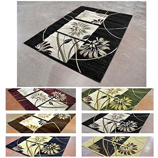 Geometric Cubic Floral-design Super-soft Contemporary Area Rug (5'3 x 7'2)