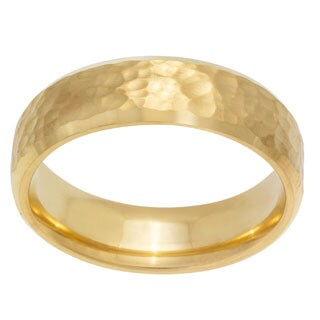 14k Yellow Gold Hammered Men's Wedding Band