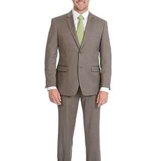 Montofino Men's Super 120's Merino Taupe Stripe Slim Suit