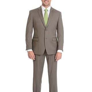 Montofino Men's Super 120's Merino Taupe Stripe Slim Suit