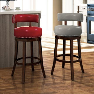 Furniture of America Hendeson Contemporary Leatherette Nailhead Swivel Bar Stool (Set of 2)
