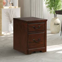 Furniture of America Devon Traditional 2-drawer Caster Dark Walnut Cabinet