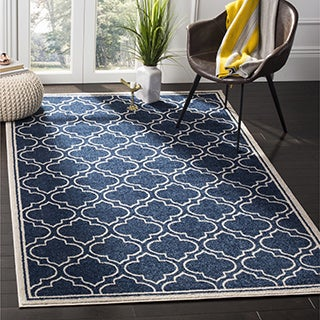 Safavieh Amherst Indoor / Outdoor Navy / Ivory Rug (9' x 12')