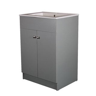 Infurniture Silver Grey Ceramic 24-inch Sink-top Single-sink Bathroom Vanity